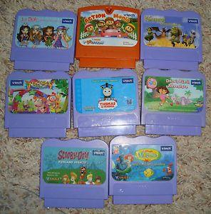 ✿✿ Lot 8 Vtech Vsmile Thomas Train Scooby Doo Dora Shrek Mermaid Video Game