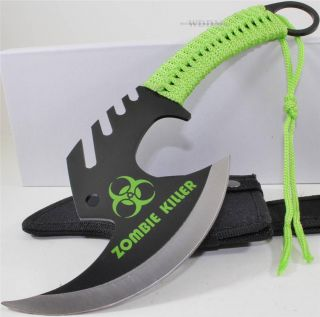 Zombie Killer Skull Splitter Throwing Axe Combat Fighter Survival Knife Sheath