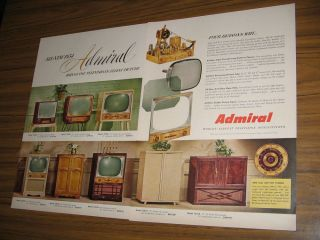 1954 Vintage Ad Admiral Televisions 8 TV Models Shown Worlds Largest MFR