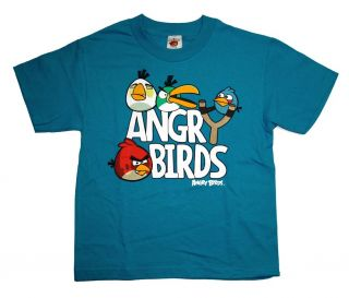 Angry Birds Slingshot Logo Rovio Mobile Video Game Youth T Shirt Tee