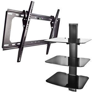 New Shelf Wall Mount AV DVD Cable Box Game Console 3 Tier Stand Tilt TV Mount