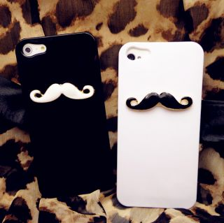 2pcs Glossy Beard Chaplin Dumb Show Sexy 3D Mustache Case Cover for iPhone 5 5th