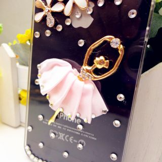 PG111 3D Pink Ballet Dancer Cute Hoofer Diamond Flower Case Cover for iPhone 5