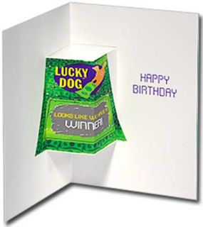Dog Lottery Tickets Pug Stand Out Pop Up Birthday Card by Avanti Press