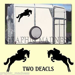 2X Horse Box Trailer Sticker Decals Show Jumping Pony