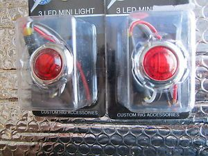 LED MINI LIGHT IN RED WITH 3 LIGHTS HOT RODS RAT RODS CUSTOM ANY USE RED LIGHT