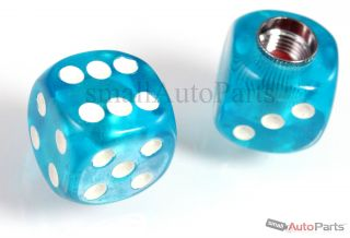2 Clear Blue Gem Dice Tire Wheel Air Stem Valve Caps for Motorcycle Chopper Bike