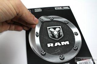 Dodge Gas Tank Cap Round Vinyl Machined Chrome Look RAM Logo Decal Sticker