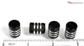 4 Car Truck Bike Black Aluminum Tire Valve Stem Caps with Chrome Stripes