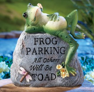 Frog Parking Only Decorative Garden Stone Statue Porch Deck Patio Home New