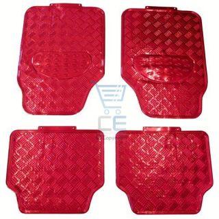 Universal Heavy Duty Checker Red Rubber Back Car Mats