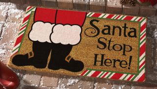 "Santa Stop Here Coir Fiber Doormat Holiday Christmas Outdoor Decor New 18"" x 30"""
