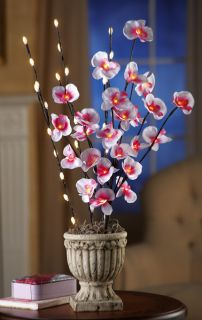 Set of 3 LED Lighted Pussy Willow Branches 1 Orchid Easter Vase Table Decor