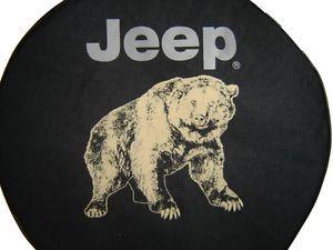 Sparecover® Brawny Series Jeep Logo 30 Bear on Heavy Black Denim Tire Cover