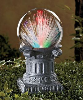 Solar Power Lighted Fiber Optic Color Changing Gazing Ball Outdoor Garden Statue