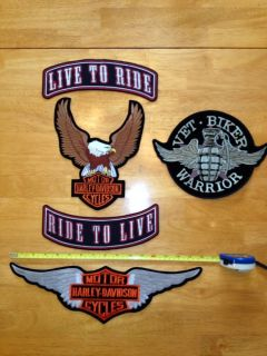 Full Set of Large Harley Biker Vest Patches Eagle Wings Rocker Bonus