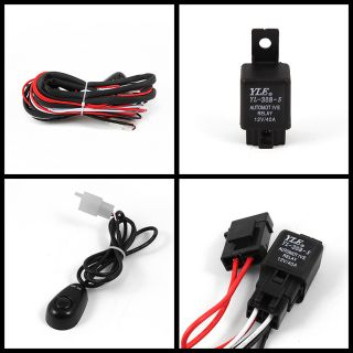 """6""""in 4x4 Off Road Built in HID Driving Fog Lights Black Stone Guard Switch Wires"""