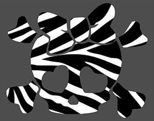 Skull Girl Animal Zebra Print Car Truck Window Wall Laptop Vinyl Decal Sticker
