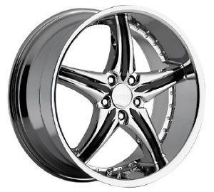 20'' inch Cattivo CD730 Chrome Black Wheel Rims 5x114 3