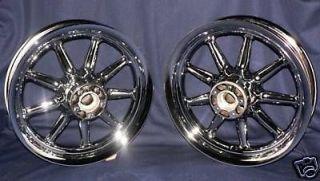 Harley Davidson Chrome Wheels Fatboy Softail Heritage 9 Spoke O E M FLST Rims