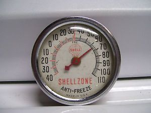 Vintage 60s Shell Oil Gas Station Thermometer Gauge Auto Car Sign Accessory