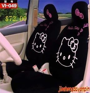 10pcs Hello Kitty Car Seat Covers Front Rear Cover Accessory Black Gray