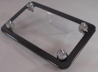Black Chrome Motorcycle License Plate Frame 4 Chrome Bullet Lic Fastener Bolts