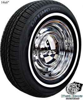 "14"" Chrome American Racing Smoothie Wheels Whitewall Tires Chevy Nova 1964 1965"