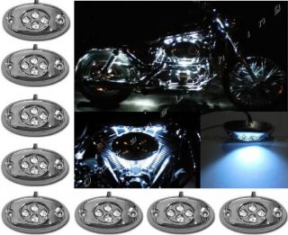 10pc White LED Chrome Modules Motorcycle Chopper Frame Neon Glow Lights Pods Kit