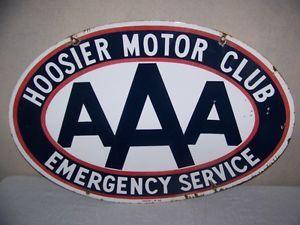 Vintage AAA Hoosier Motor Club Emergency Service Gas Oil Porcelain Metal Sign