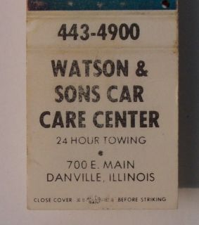 1960s Matchbook Watson Sons Car Care Danville IL MB