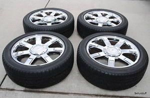 "22"" Factory Cadillac Escalade Ext ESV Chrome Platinum 22 Wheels Tires Rims as Is"
