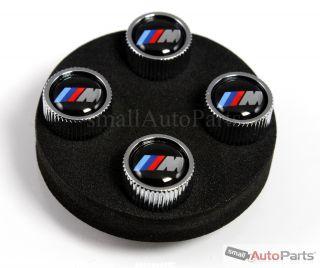4 BMW Genuine M Logo Chrome ABS Tire Wheel Stem Air Valve Caps Covers Set