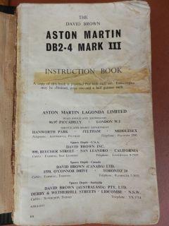 Original Aston Martin DB2 4 Instruction Book David Brown Owners Service Manual