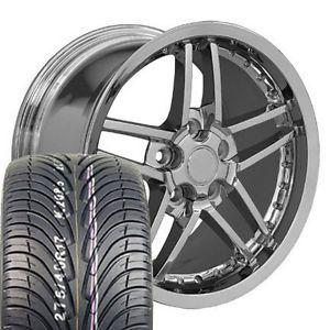 18x8 5 Chrome Z06 Rivet Wheels Rims Tires Fits Camaro