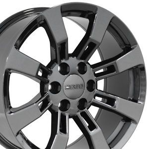 "20"" Black Chrome Escalade Wheels Rims Fit Cadillac GMC Yukon Tahoe Suburban"