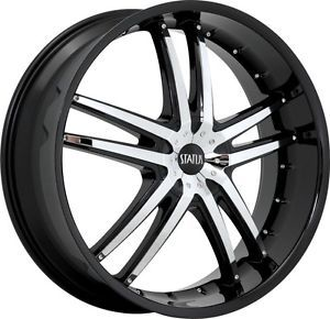 "18"" inch 4x100 4x4 5 Black w Chrome Insert Wheels Rims 4 LUH Honda Nissan Acura"