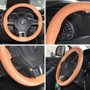 New Leather Steering Wheel Wrap Cover 43004 Brown Hummer Fiat Car Needle Thread
