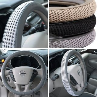 """51205 14"""" 15"""" 38cm Steering Wheel Cover Gray Leather Fiat BMW Audi SUV Car New"""