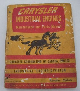 Mopar Chrysler Industrial Engines Maintenance and Parts Manual 1953