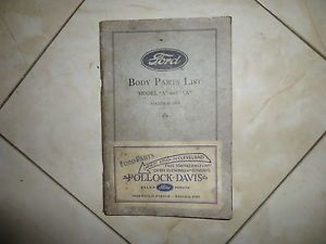 Body Parts Book Ford Model A and AA Antique Sport Automobile Car Rat Rod NR