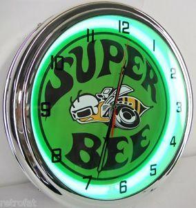 """Dodge Mopar Super Bee 15"""" Neon Clock Sign Parts Emblem Garage Car Rumble Green"""