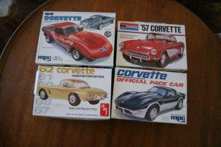 Corvette Lot of Vintage Older Pieces Kits Car Model Junkyard Parts Box