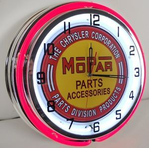 "Mopar Chrysler Parts 18"" Double Neon Clock Dealer Garage Car Lot Hot Rod Sign"