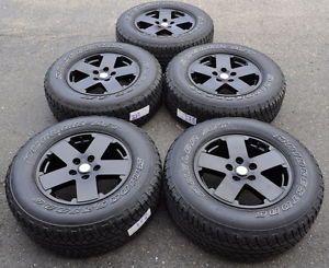 "18"" Jeep Wrangler Black Wheels Rims Tires 9076 X5"