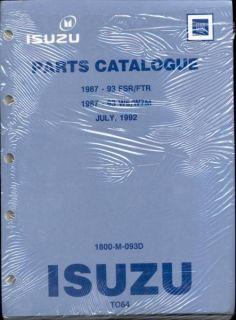 1987 to 1993 Isuzu FSR W6 W7 Diesel Truck Factory Parts Catalog Manual