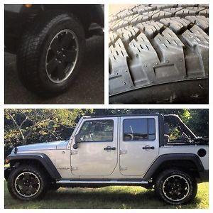 "5 Jeep Wrangler JK Altitude Rubicon Wheels Rims Tires Black 18"" with Bridgestone"