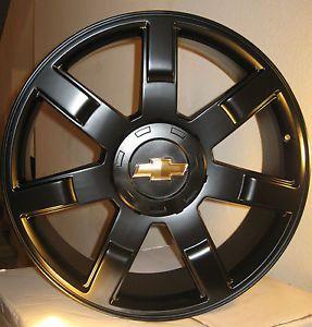 """24 Chevy Tahoe Silverado GMC Yukon Wheels Rims Fit 2007 2013 22"""" Gloss Black"""