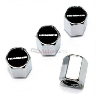 4 Hummer Black Logo Chrome ABS Tire Wheel Pressure Air Stem Valve Caps Covers