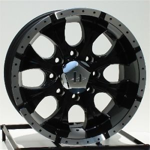 17 inch Black Wheels Rims Chevy GMC Dodge 2500 3500 8 Lug Trucks Hummer H2 Helo